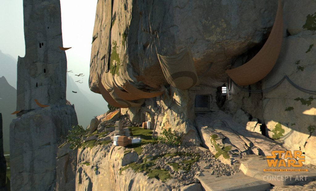 A concept art of the Batuu Wilds, a large rock with an entrance and the vista in the horizon.